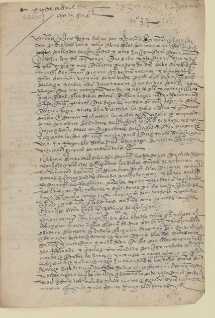 Francisco Pizarro response to a petition by Pedro del Barco, 1539 Apr. 14