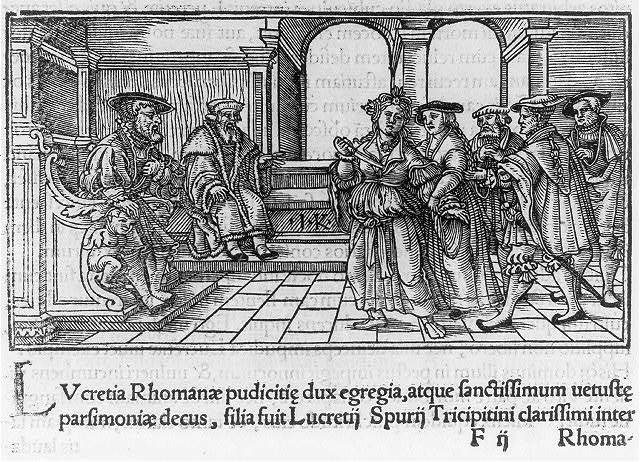 [Lucrezia Borgia (1480-1519), in court, holding dagger to her breast] / I.K.