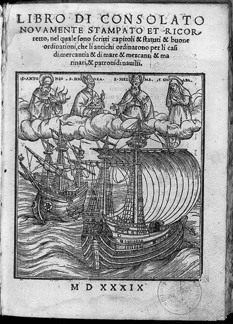 [Title page, showing 2 large ships with Saints Antonia, Nicola, Helme & Chiara in clouds]