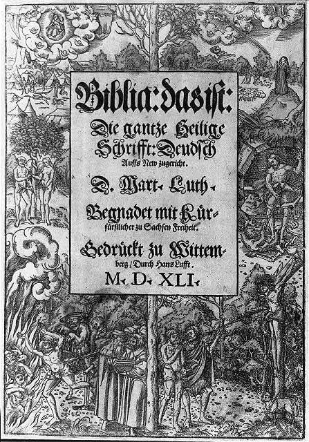 Title page, bordered with numerous New Testament scenes, of German Bible