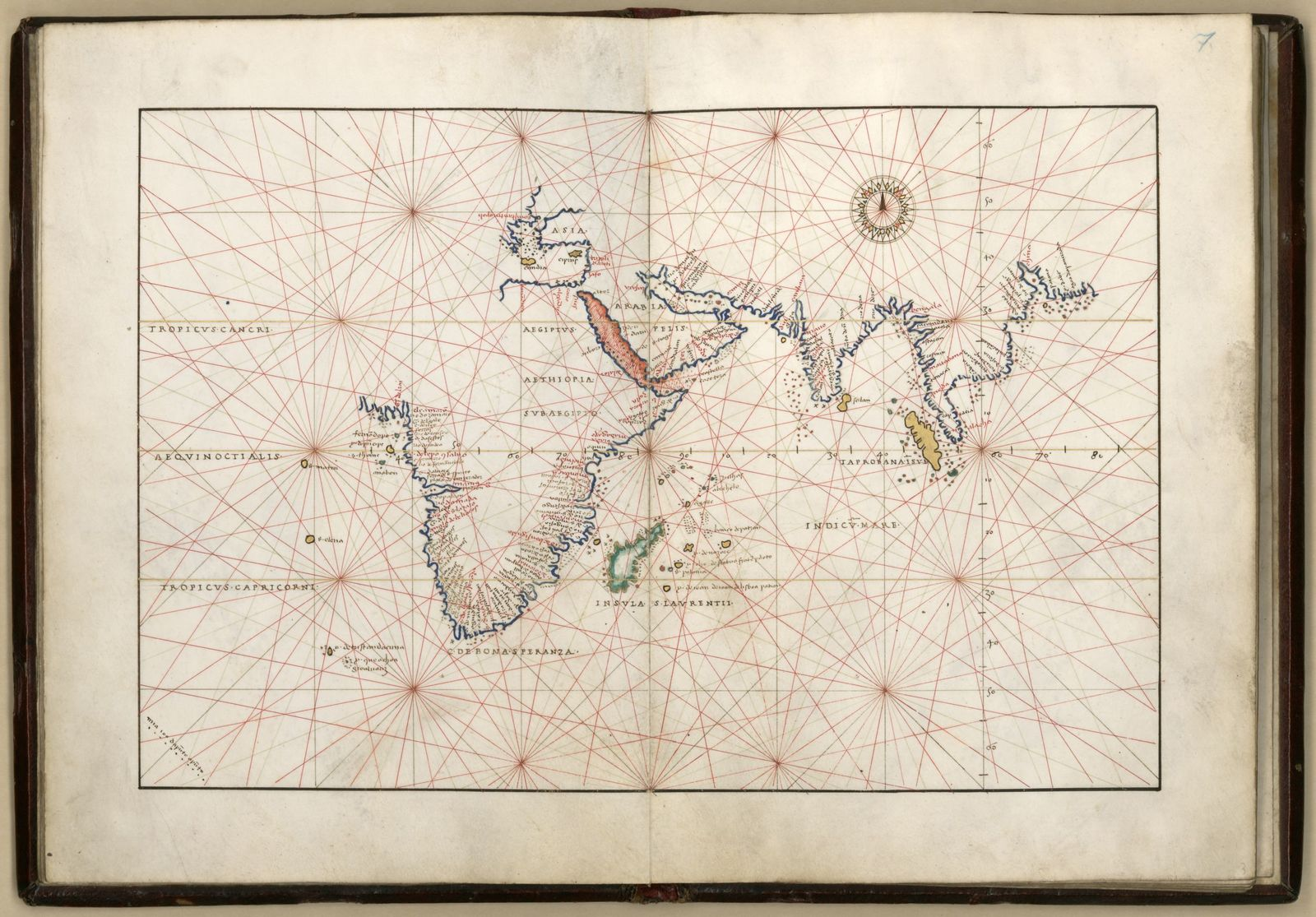 Portolan atlas of 9 charts and a world map, etc. Dedicated ...