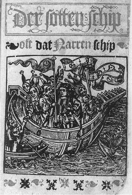 "[Title page of Sebastian Brant's ""Ship of Fools"" with woodcut illustration of crowded ship: Der Stotten Schip]"
