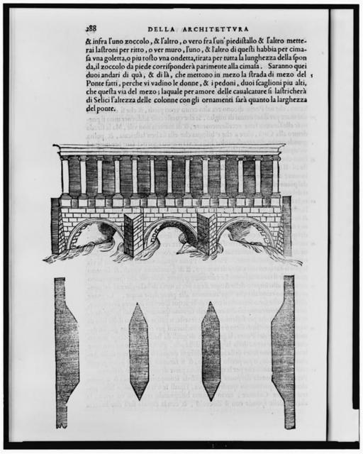 [Architectural plan and elevation of a bridge showing piers, arches, and columns]