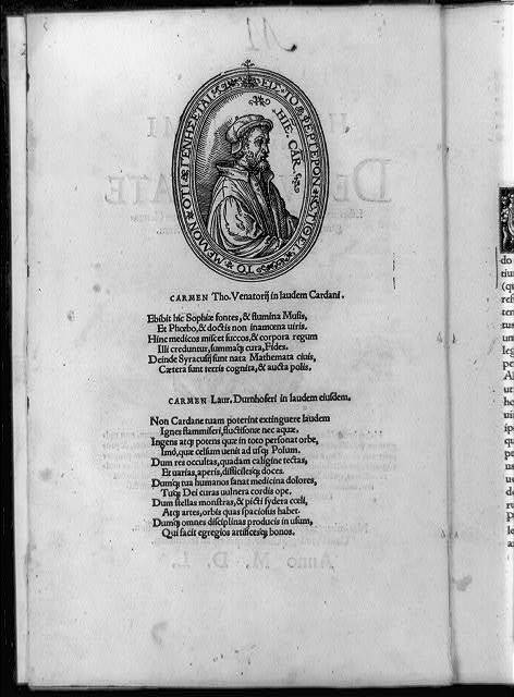 [Mathematician Girolamo Cardano, half-length portrait in oval, facing right, with text below]