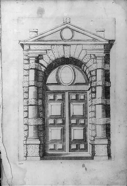 [Facade and paneled door of building]