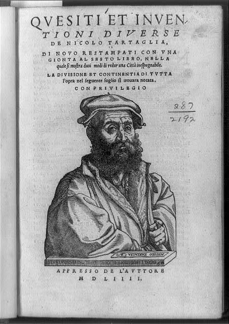 [Title page of Quesit et inventioni diverse; with half length portrait of the author, mathematician Nicolo Tartaglia]