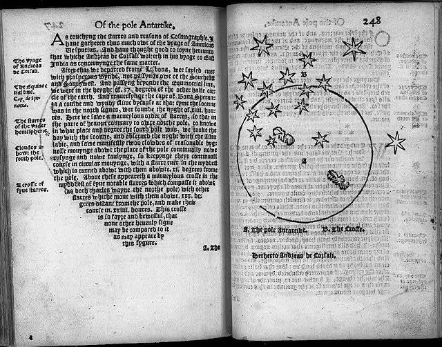 "[South Pole. 1555; page of text illus. with map showing ""The Pole Antartike"" and ""The Crosse"" (stars)]"