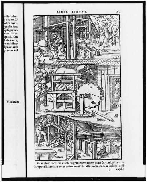 [Plate from De re metallica showing three methods of ventilating mines]
