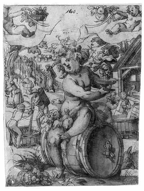 [Bacchus figure seated on a wine barrel with people in the background possibly mashing grapes for wine; possibly done as a study for stained glass]