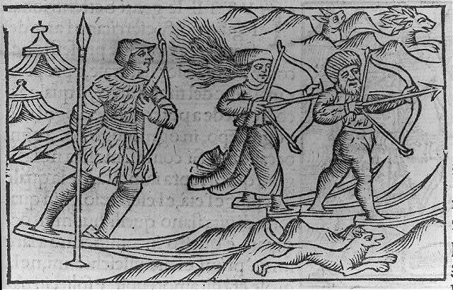 "[Illustration of activities of Lapps and Finns: Men and women hunting with bows and arrows on snowshoes; ""women hunt...as nimbly...or more than men""]"