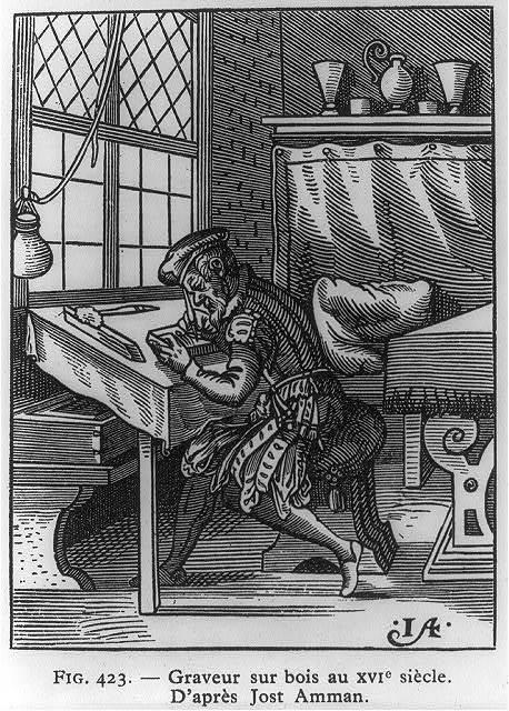 Graveur sur bois au XVIe siècle / d'aprés Jost Amman.