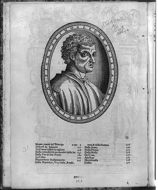 [Leon Battista Alberti, 1404-1472, head and shoulders portrait, facing right]