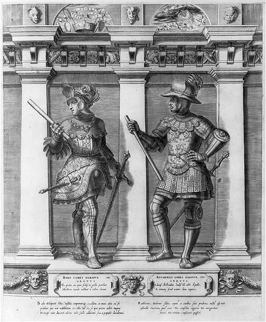 [Babo and Rotherius in Hapsburg armorial dress]