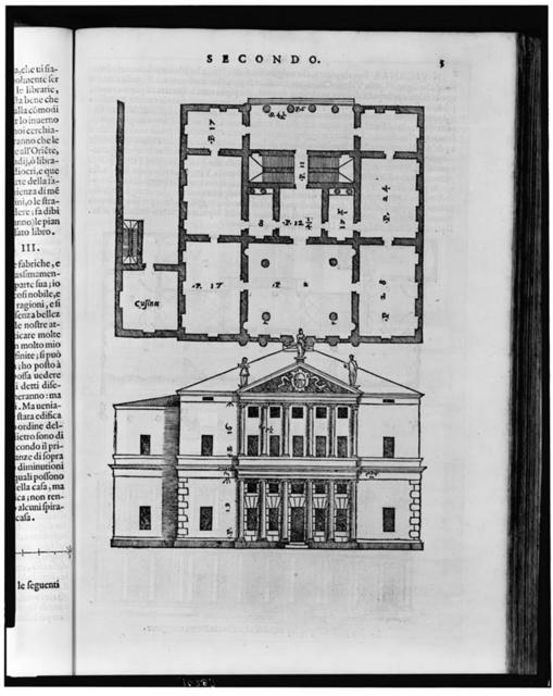 [Floor plan and elevation of a classical style house]