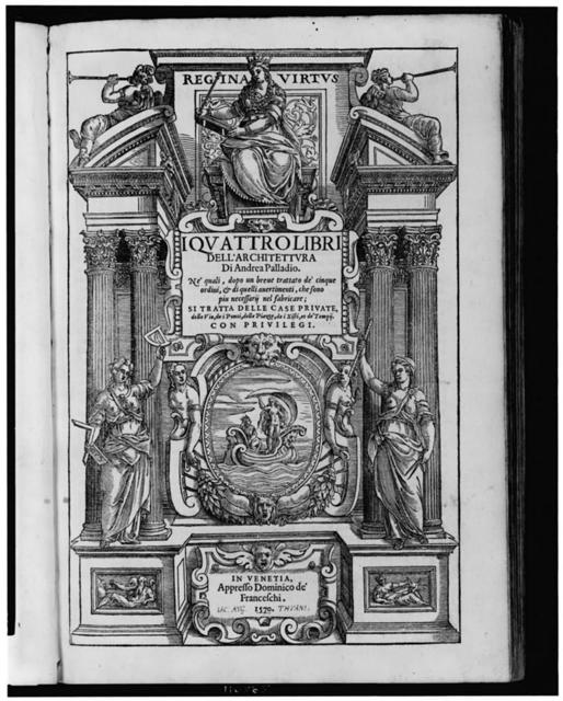 [Ornate title page illustration for I qvattro libri dell'architettvra by Andrea Palladio]