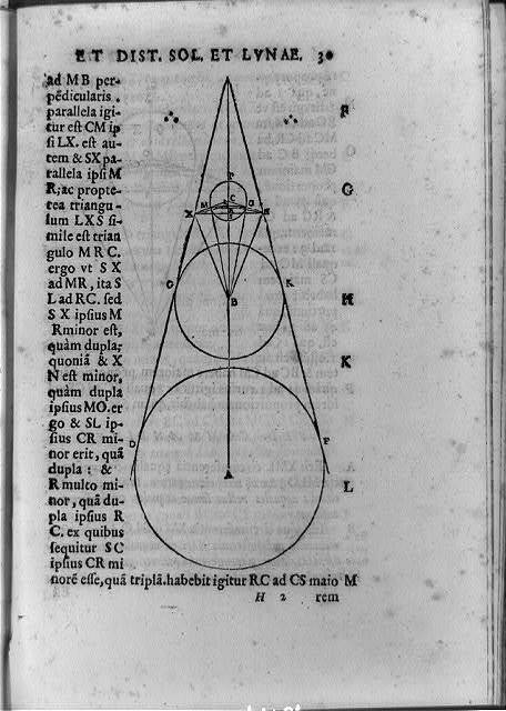 [Geometric figure of earth, sun, and moon calculated by Aristarchus to approximate real scale of the solar system]