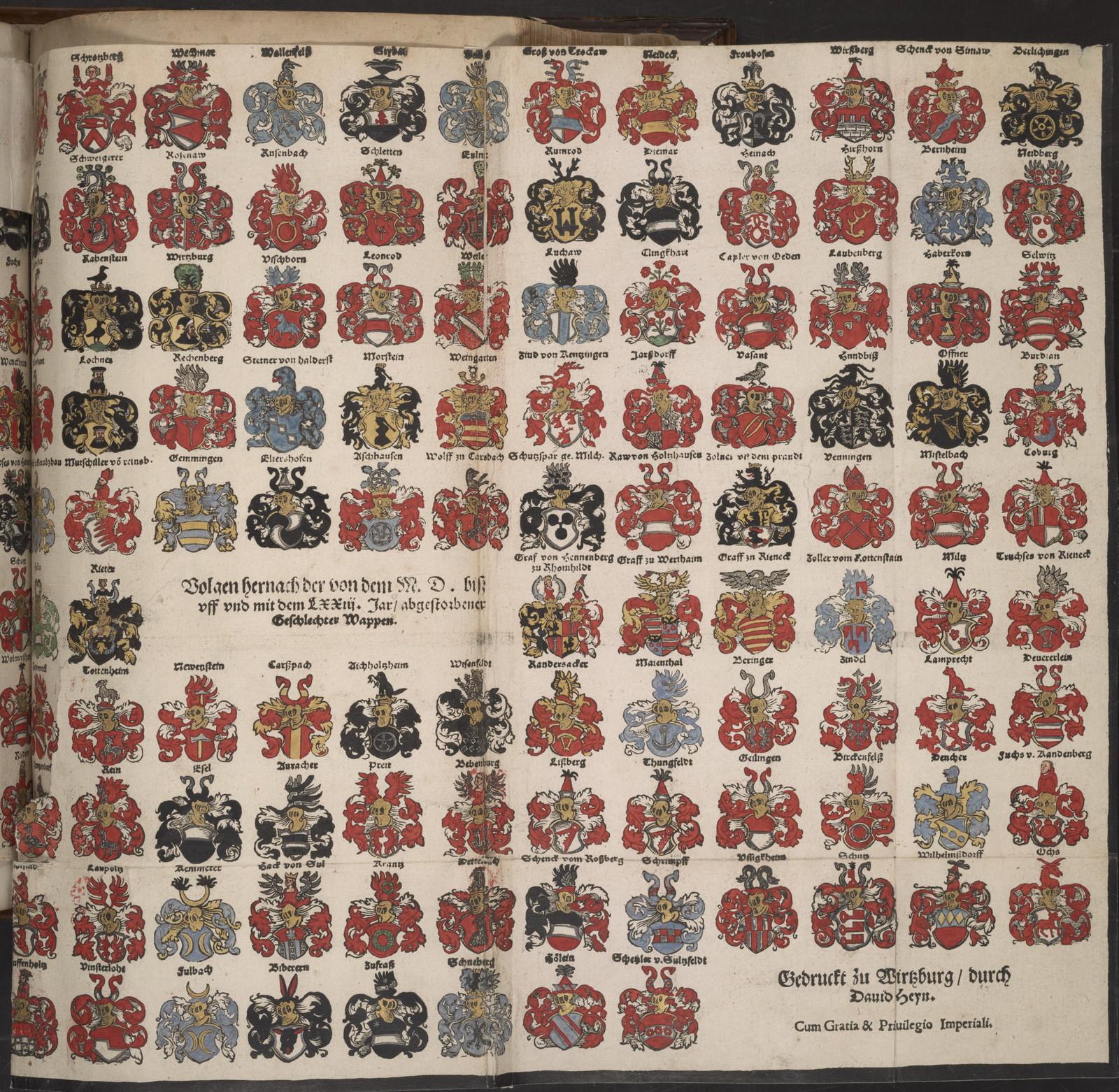 Der Geschlechter von Fursten, Graffen, Herrn, vnd vom Adel, Wappen mit Schilten vnd Helmen, so von dem hochloblichen Stifft Wirtzburg vnd Hertzogthumb zu Francken Lehen Tragen.