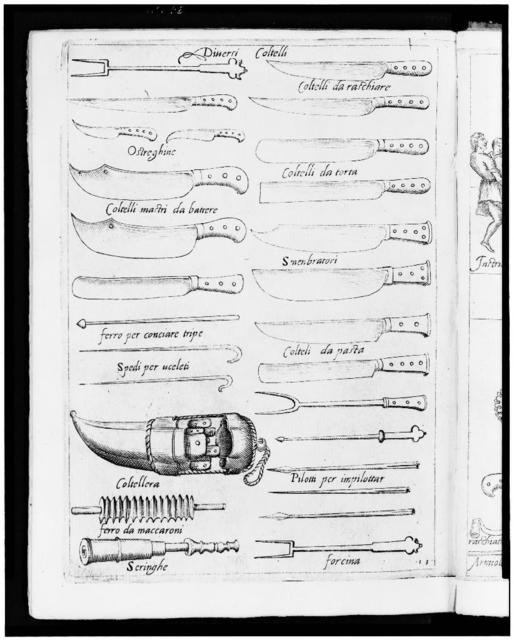 [Illustrations of 16th century knives, forks, and other utensils]