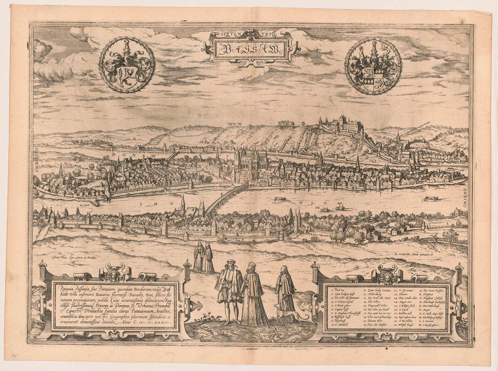 Passau. septen trio Coloniæ Ubior cum gratia et priuilegio ; LA monogram Leonardus Abent patauien: F