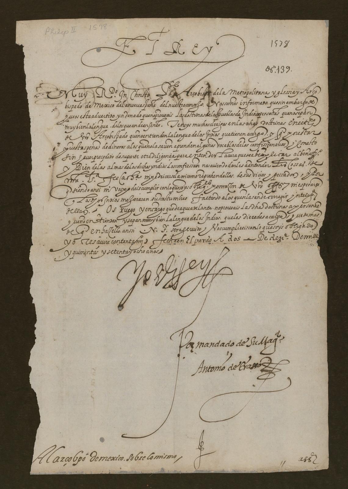 Philip II letter, 1578 Dec. 2.