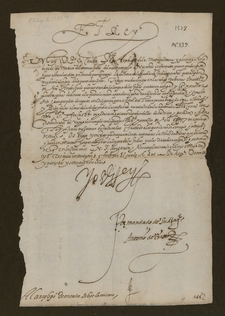Philip II letter, 1578 Dec. 2.