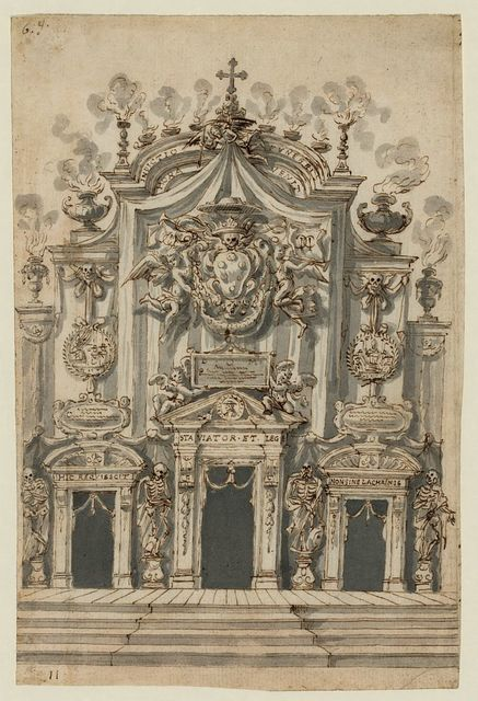 [San Lorenzo, Florence, decorated for a funeral]