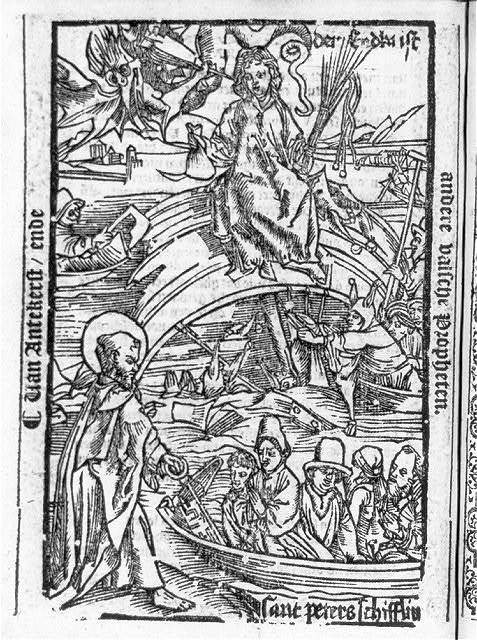 "[Illus. of the Anti-Christ on ""The Ship of Fools; St. Peter with boatload of believers in foreground]"
