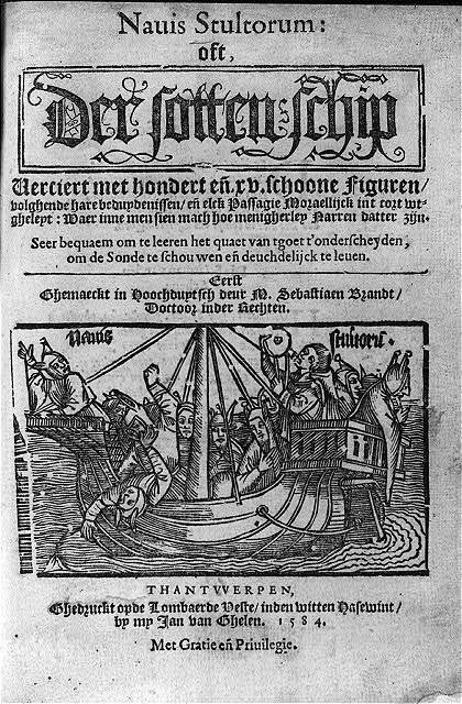 "[Title page of Sebastian Brant's ""Ship of Fools"" with woodcut illustration of crowded ship: Nauis stultorum]"