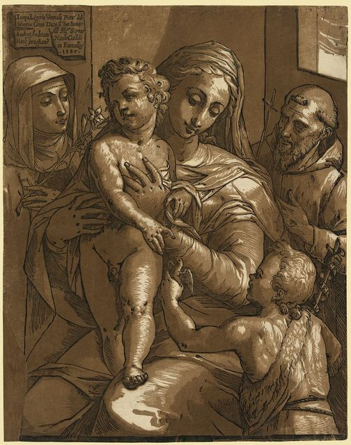 The Virgin, Child, and saints / Iacopo Ligozia Veronese pittore del Sereniss [...]; Andrea Andriano Mant. intagliatore 1585.