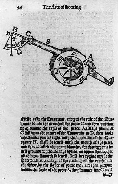 [Page 26 from the Art of shooting in great ordnaunce... written by William Bourne. Imprinted at London for Thomas Woodcocke, 1587]