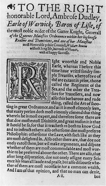 [Page from The Art of shooting in great ordnaunce... written by William Bourne. Imprinted at London for Thomas Woodcocke, 1587]