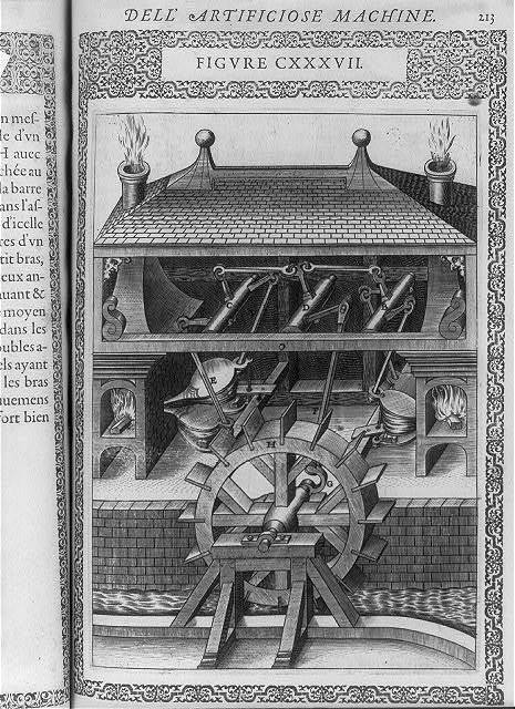 [Complex machine using water-wheel, bellows, and turbine action]
