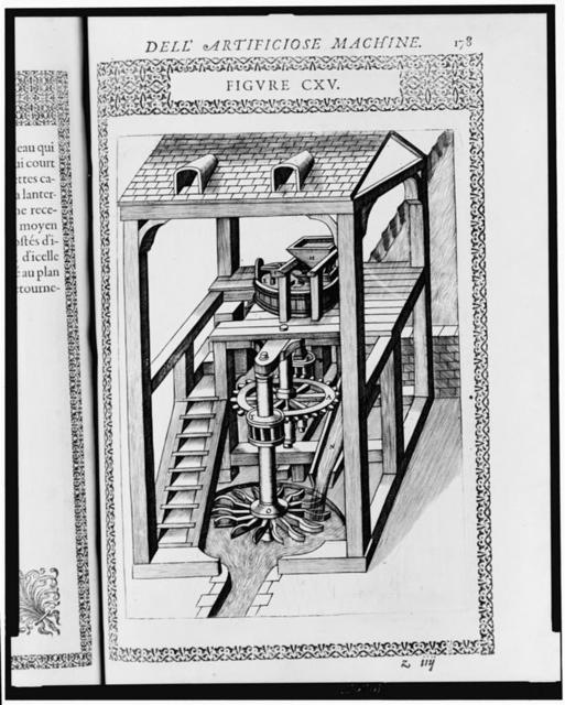 [Cut-away view of water-powered mill showing horizontal wheel with paddles, cog and shafts, and housing]