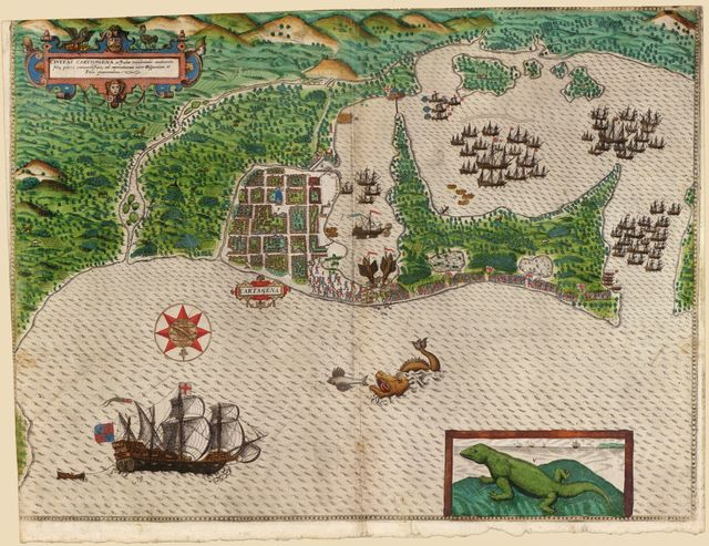 [Map and views illustrating Sir Francis Drake's West Indian voyage, 1585-6].