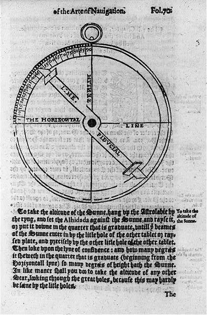 Navigational charts & designs: Astrolab [to take the altitude of the sunne]