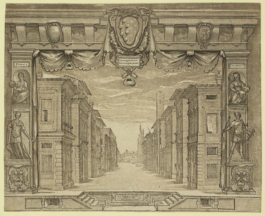 Stage design for L'Ortensio, 1589