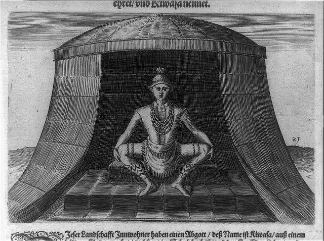 [Indian seated in hut]