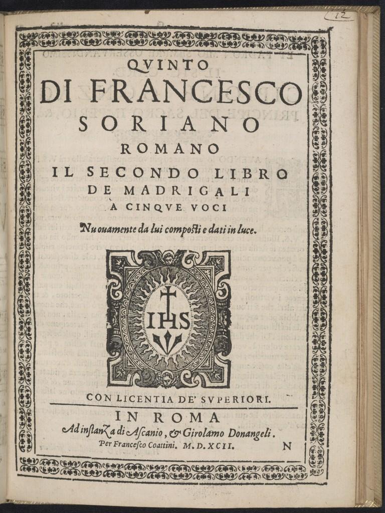 Il  secondo libro de madrigali a cinqve voci