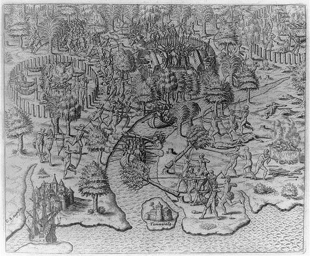 Battle between Portuguese and Indians and Garasu near the harbor of Marin