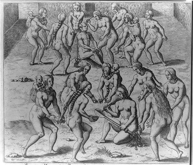 Ceremonies used when killing enemies and eating these. Methods of killing and treating the enemy [by nude Indians]