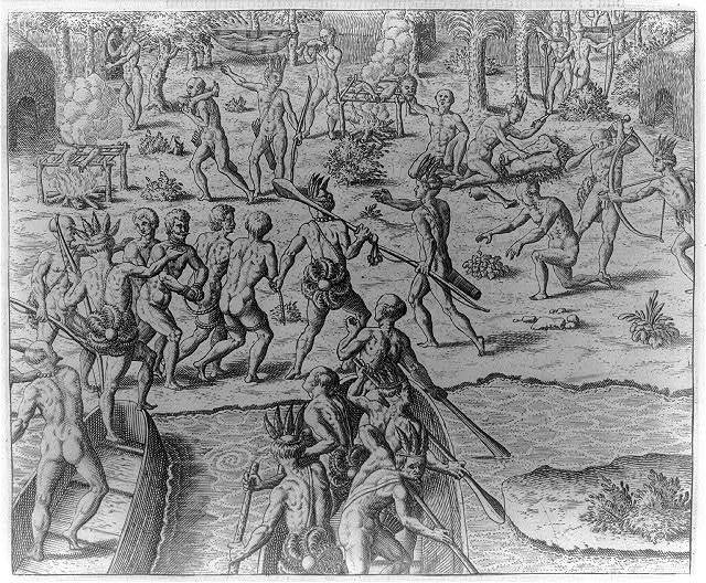 [Illustrations of Johannes Staden's description of the Tuppin Inwa Indians: European prisoners being fried and eaten by the Tuppin Inwa]