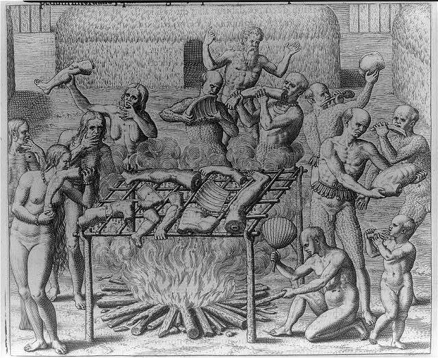 "Johannes Lerii's account of the description of the method the Indians use for ""barbecuing"" human flesh"