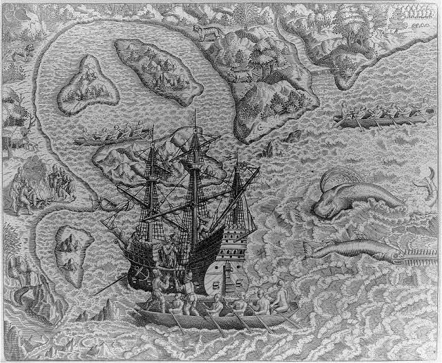 Johannes Staden arrives at unknown island and finds Portugese already there. Supraway, 18 miles from S. Vincentii Insula