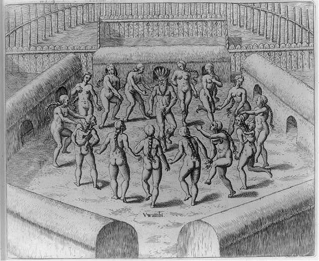 Johannes Staden as prisoner in a circle of Indian women who dance around him