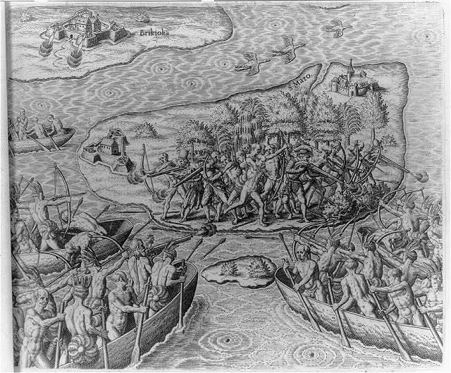 Johannes Staden being kept prisoner on San Maro by Indians