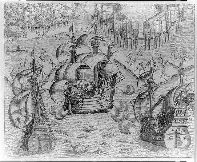 Johannes Staden of Hessen fights with French ship at Buttugaris, Brazil