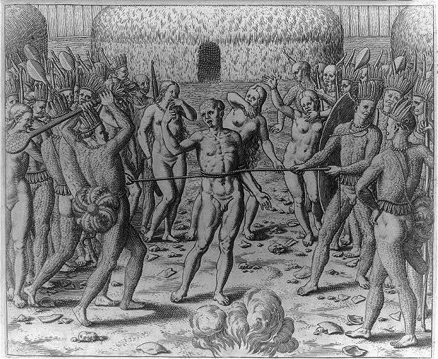 Torture of the prisoner [by nude Indians]