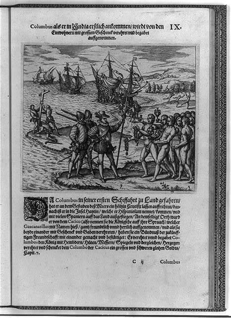 [Columbus landing on Hispaniola, Dec. 6, 1492; greeted by Arawak Indians]