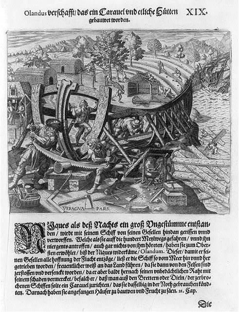 Olandus verschafft das ein Caravel und eetliche Hütten gebauwet worden