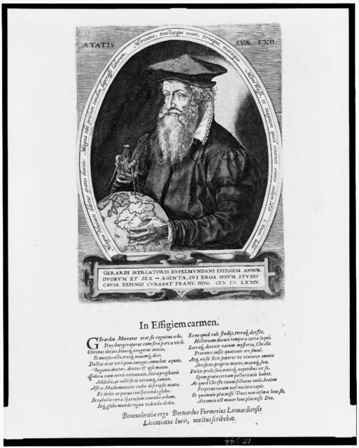 [Gerhard Mercator, half-length portrait, facing left, holding compass and globe, at age 62]